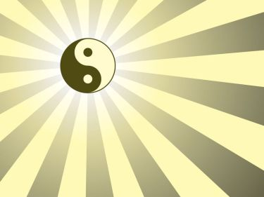 15825486 - abstract rays background with yin yang symbol